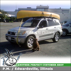 2003 Toyota RAV4 Roof Rack Canoe Gunwale Brackets System using Yakima Q Towers w/ Q99 Clips & 8005007 Canoe Rack