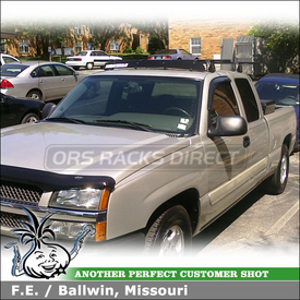 "2004 Chevy Silverado Truck Cab Roof Rack and Wind Fairing using Yakima Q Towers, Q109 Clips & 50"" Fairing"