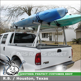 2004 Ford F250 Crew Cab Truck Rack and Kayak Saddles with DeWalt-Thule 376 Pro Truck Rack & 881 Top Deck Kayak Carriers