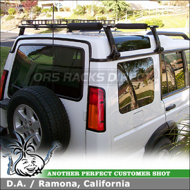 2004 Land Rover Discovery II Rooof Rack Basket using Thule 953 Super High Gutter Foot, Yakima BasketCase & 556BLK Rack Pads