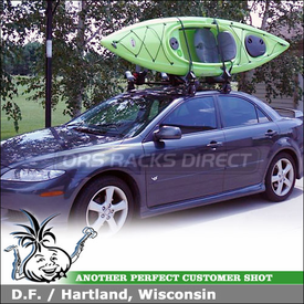 2004 Mazda 6 Roof Rack Kayak Racks using Yakima Q Towers & Q99 Clips and BowDown J-Cradles
