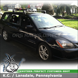 2004 Mitsubishi Lancer Sportback Bike Roof Rack Using Yakima Q Towers W/  Q102 Q Clips