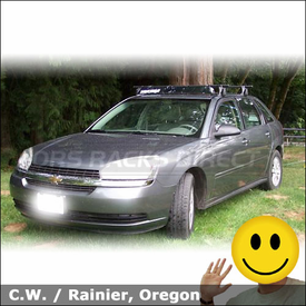 2005 Chevrolet Malibu MAXX Roof Rack with Yakima Q Tower System & Wind Fairing