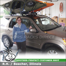 2005 Honda CRV Kayak Roof Rack using Thule 430 Tracker II, TK8 Tracker Kit & 835PRO Hull-a-Port