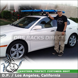 2005 Lexus ES330 Roof Rack + Locking Kayak-Canoe-SUP Mount using Inno INSU Stays, K227 Fit Hooks, B127 Crossbars & INA446 Locking Carrier
