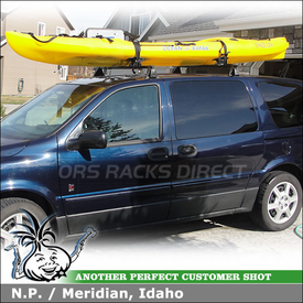 2005 Saturn Relay Roof Rack and Kayak Rack with Yakima Q Towers, Q129 Clips, SportRack ABR512 Kayak Saddles & Thule 854 WaterSlide Mat