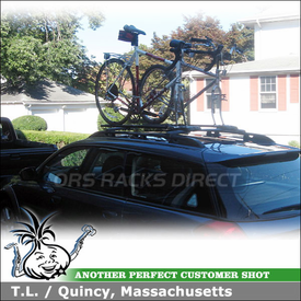 2005 Subaru Outback Bike Racks on Factory Rack Crossbars using RockyMounts TieRod Bike Racks