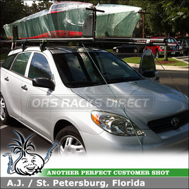 2005 Toyota Matrix Roof Rack SailBoat Carrier using Yakima Q Towers Car Rack with Q83 & Q116 Clips