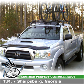 2005 Toyota Tacoma Cab Roof Bike Truck Rack with Yakima Q Towers, Q127 - Q128 Clips & Raptor Bike Racks