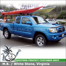 2005 Toyota Tacoma Truck Kayak Rack using Thule 480 Traverse Half Pack, 1511 Fit Kit, 997 Goal Post & 883 Glide-N-Set