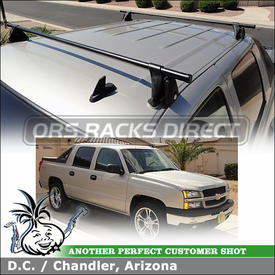 "2006 Chevy Avalanche Roof Rack Cross Bars using Yakima Q Towers (w/ Q 109 Clips & 58"" Crossbars)"