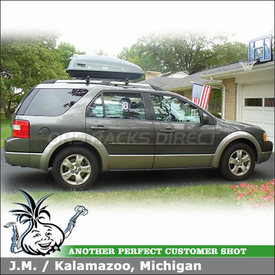2006 Ford Freestyle Roof Rack Cross Rails Cargo Box System using Thule 45050 Crossroad Car Rack & Thule 682 SideKick Roof Box