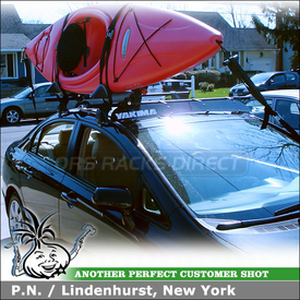 "2006 Honda Civic Kayak Roof Rack and Wind Fairing using Yakima Q Towers, Q99 Clips, Q31 Clips, Yakima BowDown & 50"" Fairing"