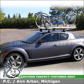 2006 Mazda RX-8 Roof Rack and Tandem Bike Rack with Yakima Q Towers, Q60 Clips & RockyMounts R4 Tandem Carrier