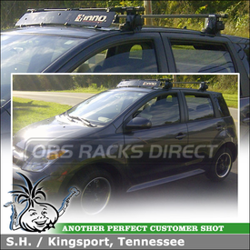 2006 Scion xA Roof Rack Wind Fairing System using Inno IN-SU (w/ Stays, K234 Fit Hooks, B117 Cross Bars) & INA261 Rack Fairing