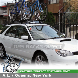 2006 Subaru Impreza WRX Roof Bike Rack using Thule 450 Crossroad, 599XTR Big Mouth & 870XT Fairing