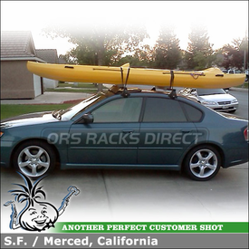 "2006 Subaru Legacy Kayak Foam Blocks for Roof Rack Cross Bars using Yakima Q Towers, 78 Q Clips, 48"" Bars, 44"" Fairing & Yakima Kayak Foam Blocks"