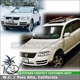 2006 VW Touareg Roof Rack Ski - Bike Racks System using Thule 430 Tracker II, 91725 Ski-Snowboard Rack & RockyMounts PitchFork