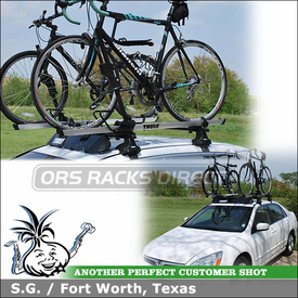 2007 Honda Accord EX Bike Roof Rack and Wind Fairing with Thule 480 Traverse Foot Pack, 1304 Fit Kit, 871XT fairing & 594XT SideArm Bicycle Carriers