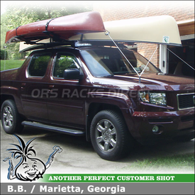 "2007 Honda Ridgeline Roof Tracks Rack System using Yakima 42"" Tracks, Control Towers, 50"" Fairing & Malone SeaWing Kayak Rack"