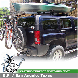 2007 Hummer H3 Kayak Roof Rack & Spare Tire Bike Rack using Thule 430 Tracker II & TK12 Kit, 881 Top Deck, 963PRO Spare Me & 873XT Fairing