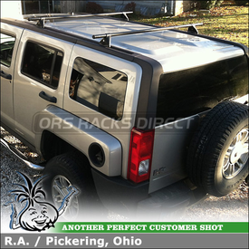 """2007 Hummer H3 Roof Rack for Factory Installed Tracks using Yakima Control Towers (w/ Landing Pads 4 & 58"""" Cross Bars)"""