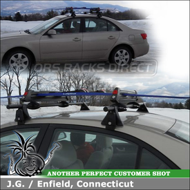 2007 Hyundai Sonata Roof Rack Ski Carrier with Yakima Q Towers, Q5 Clips & Q99 Clips and ButtonDown Ski Carrier