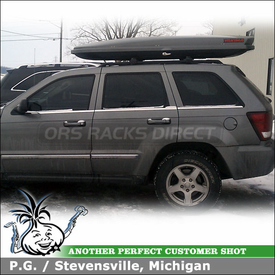 2007 Jeep Grand Cherokee Snowboard-Ski Roof Box for Factory Rack Cross Rails using Yakima SkyBox LoPro Cargo Luggage Gear Box