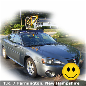 2007 Pontiac Grand Prix Roof Rack for Bikes with Yakima Q Tower System, Fairing & Rocky Mounts Lariat SL