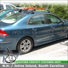 2007 Saab 9-3 Bike Roof Rack using RockyMounts EuroLariat & Thule 593 on Saab Factory Rack Bars