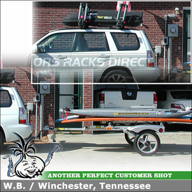 "2007 Subaru Forester Trailer for Surfboards & SUP's + Cartop Kayak Cradles & Cargo Box using 78"" Yakima RACKandROLL Trailer, Yakima BowDown & Roof Box"