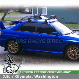 2007 Subaru Impreza WRX STI Snowboard Roof Rack Using Yakima Q Towers W/  Q78 Clips