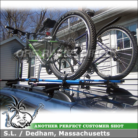 2007 Subaru Outback Bike Mounts for Roof Rack Cross Bars on Side Rails Using RockyMounts PitchFork & Thule 45050 Crossroad