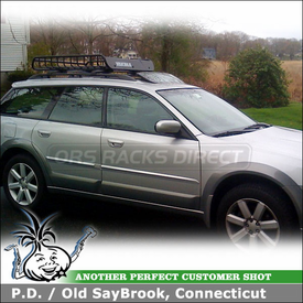 2007 Subaru Outback Luggage Rack Roof Basket with Yakima LoadWarrior Gear Basket