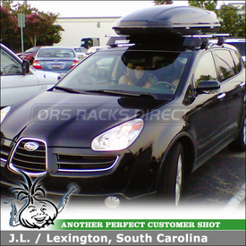 2007 Subaru Tribeca Roof Rack Cargo Box using Thule 480R Rapid Traverse & 1431 Fit Kit, 687BXT Atlantis 1800 Box & 873XT Fairing