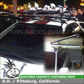 2007 Subaru WRX STI Roof Rack Crossbars + Ski-Snowboard Carrier using Whispbar S16 Through Bar System (w/ K323 Fitting Kit) & Thule 92726 Snowboards-Skis Carrier