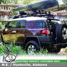 2007 Toyota FJ Cruiser Car Rack Cross Bars and 2 Sets of Kayak Saddles Installed On Factory Cargo Luggage Basket
