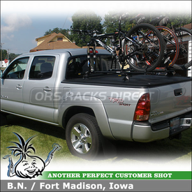 2007 Toyota Tacoma Tonneau Cover Rack for Carrying Bikes using Yakima Tracks, Control Tower & RockyMounts PitchFork
