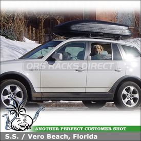 2008 BMW X3 Roof Rack Cargo Box with Thule 45050 CrossRoad System & 604 Ascent 1600 Luggage Box