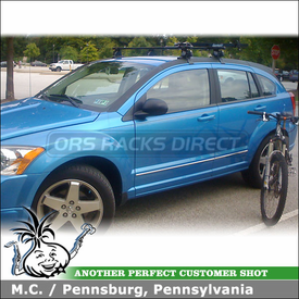2008 Dodge Caliber Roof Rack for Bike with Inno INSU Car Rack System & RockyMounts Bicycle Carrier