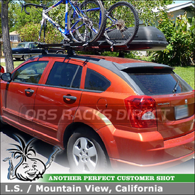 2008 Dodge Caliber Roof Rack Luggage Gear Box and Two Bicycle Carriers