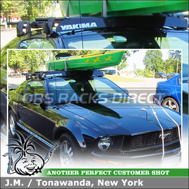 "2008 Ford Mustang Roof Rack Cross Bars Wind Fairing System using Yakima Q Towers (w/ Q78 Clips & 58"" Bars), Q Stretch Kit and 50"" Fairing"