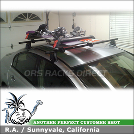 2008 Honda Civic Hybrid Ski-Snowboard Roof Rack using Yakima Q Towers, Q99 & Q131 Clips and Yakima Big PowderHound