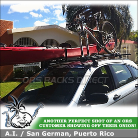 2008 Honda CR-V Kayak Rack-Bike Rack System using Yakima Control Towers & Q Towers Half Packs, ForkLift & Mako Saddles-Hully Rollers Combo