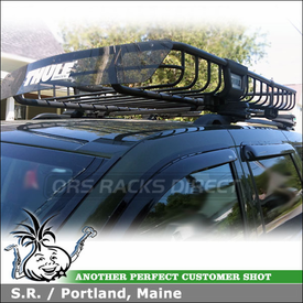 2008 Jeep Grand Cherokee Side Rails Roof Rack Basket System using Thule 45050 CrossRoad and Thule 690XT M.O.A.B. Roof Basket