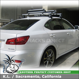 2008 Lexus IS250 Roof Rack and Ski-Snowboard Rack with Thule 400XTR Rapid Aero, 2176 Fit Kit, 872XT Fairing & 91725 Flat Top
