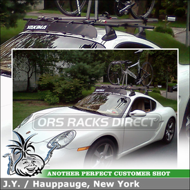 2008 Porsche Cayman with Fixed Roof Point Car Rack Bike Trays, Front Wheel Holder, and Fairing