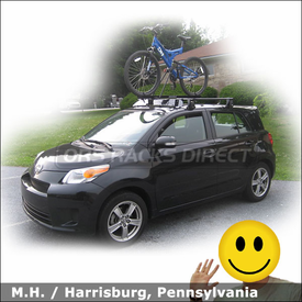 2008 Scion xD Roof Rack for Bike with Yakima Q Tower System, Fairing & Raptor Bike Rack