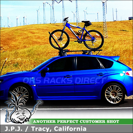 2008 Subaru Impreza WRX STI Bike Rack for Factory Crossbars - Yakima Frontloader Upright Mount Bike Rack