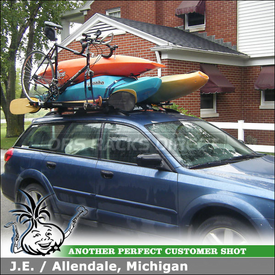 2008 Subaru Outback Roof Rack and Bike Rack with Yakima RailGrab Towers, Wind Fairing & SteelHead Bike Rack